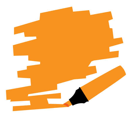 highlighter pen: An orange copy space marked out by a red highlighter pen