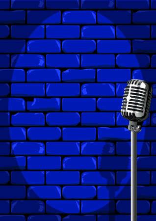 Un micrófono dispuesto en el escenario contra una pared de ladrillo con el grunge