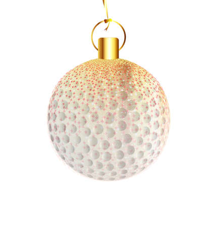 golfball: A gold and spakly Christmas tree golfball decoration