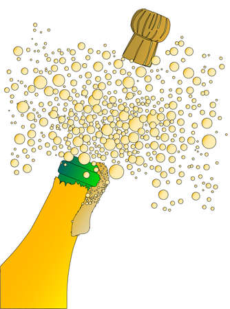 froth: Champagne bottle being opened with froth and bubbles isolated on white