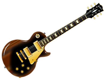 The definitive rock and roll guitar in black but well road worn isolated over a white background.