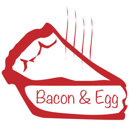 savoury: Cartoon depiction of a hot bacon and egg pie slice over a white background
