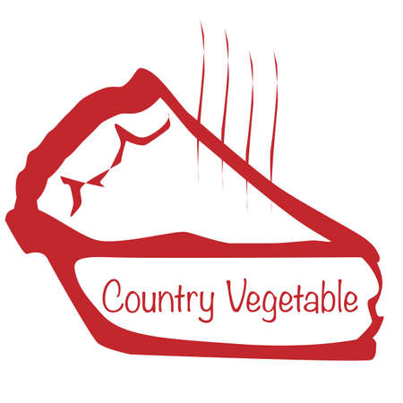 savoury: Cartoon depiction of a hot Country Vegetable pie slice over a white background