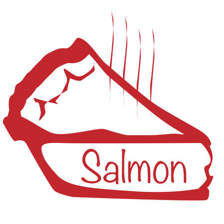savoury: Cartoon depiction of a hot Salmon pie slice over a white background Illustration