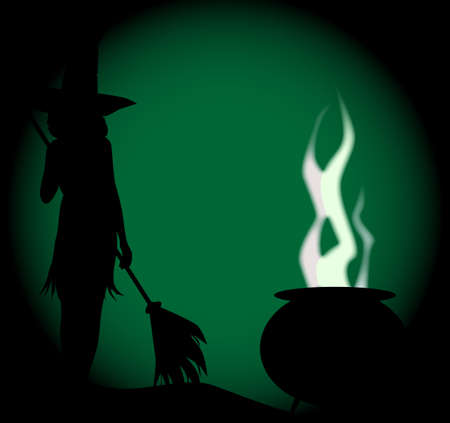 spells: A witch with her cauldron boiling against a green full moon background