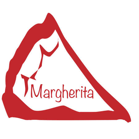 margherita: Cartoon depiction of a Margherita pizza slice over a white background