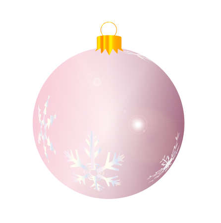 reflect: A glossy pink Christmas decoration with snowflake patterns isolated on a white background. Illustration