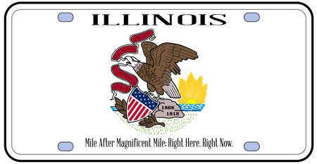 number plate: Illinois state license plate in the colors of the state flag with the flag icons over a white background