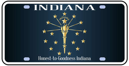 number plate: Indiana state license plate in the colors of the state flag with the flag icons over a white background