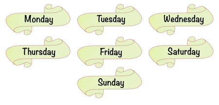 week: The days of the week on a scroll