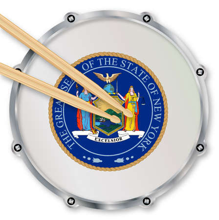 snare drum: New York state seal snare drum batter head with tuning screws and  with drumsticks over a white background Stock Photo