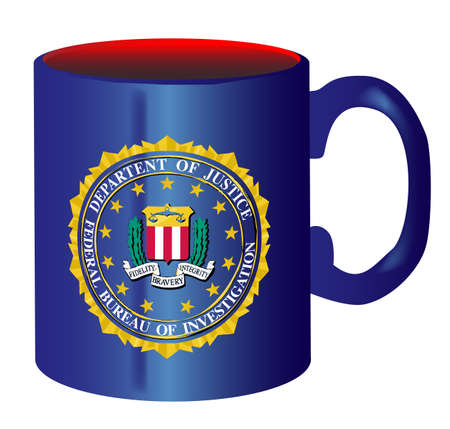 spoof: A spoof drawing of the mug of FBI over a white background