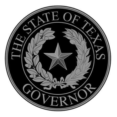 El sello de los Estados Steas del estado norteamericano de gobernador de Texas aislado en un fondo blanco.