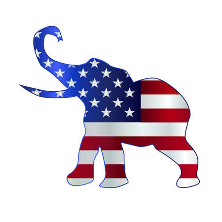 The United States of American Republican party elephant flag over a white background Illustration