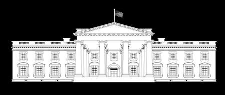 depiction: Depiction of the White House home to the United States President over a black background