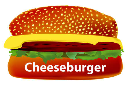 bun: A large cheese burger in a sesame bun.