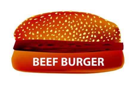 beefburger: A large Beef Burger in a sesame bun.