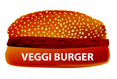 bun: A large Veggi Burger in a sesame bun.