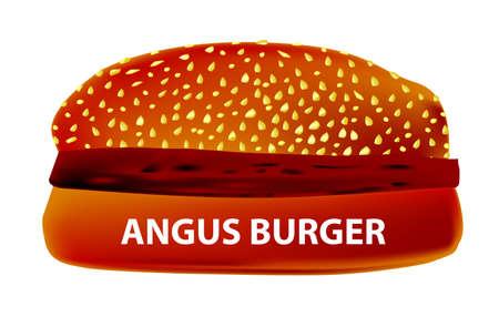 angus: A large Angus  Burger in a sesame bun.