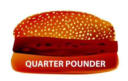 beefburger: A large Quarter Pounder Burger in a sesame bun. Illustration