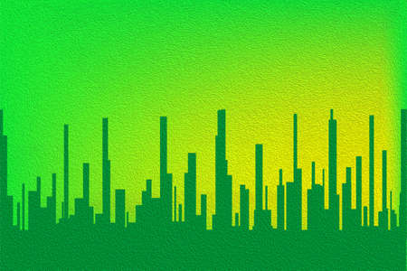 sprawl: A cityscape in green with a green sky with ilumination. Stock Photo