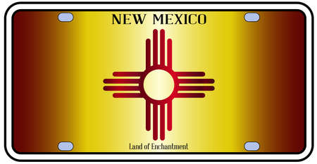number plate: New Mexico state license plate in the colors of the state flag with the flag icons over a white background