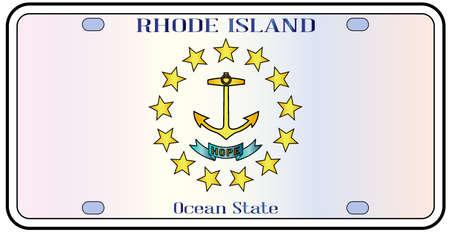 Rhode Island targa dello stato con i colori della bandiera dello stato con le icone di bandiera su uno sfondo bianco Vettoriali