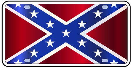 Rebel kenteken met de vlag van de staat in de kleuren rood wit en blauw met tekst Lone Star State over een witte achtergrond Vector Illustratie