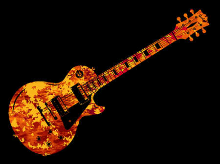 An electric guitar in a flame style on a black background
