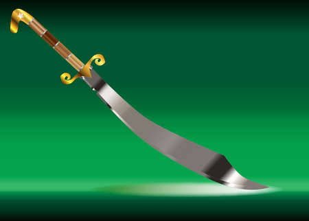 scimitar: A scimitar sword as used by arabian warriors over a white background