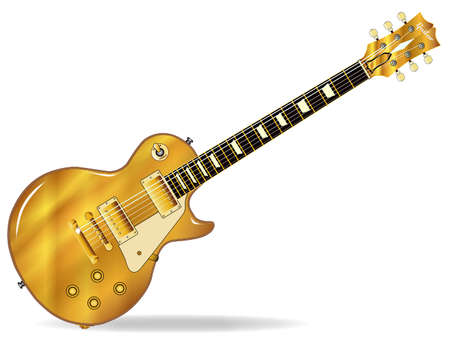 The definitive rock and roll guitar in gold top isolated over a white background.