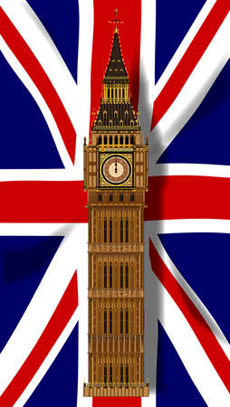bell tower: The British Union Flag, or Union Jack with Big Ben
