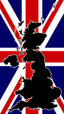 wales: A silhouette of the United Kingdom set over a union flag.