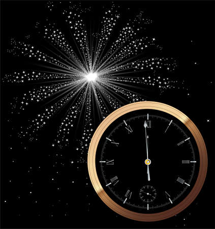 A New Year clock showing almost midnight. Illustration