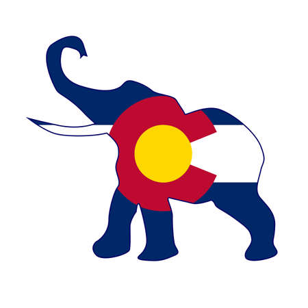 The Colorado Republican elephant flag over a white background