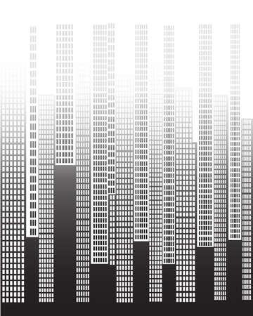 A city skyline fading as the buildings get taller