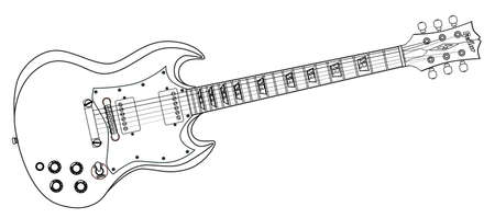 sg: A solid body electric guitar line drawing in a white background.