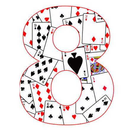 clubs diamonds: Playing cards in random order as a background for the number 8