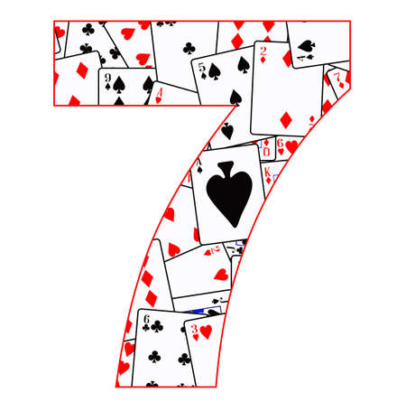 clubs diamonds: Playing cards in random order as a background for the number 7
