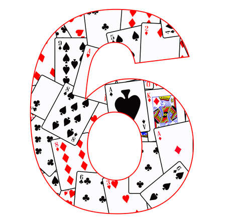 Playing cards in random order as a background for the number 6 Illustration