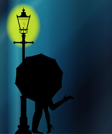 brolly: A couple kissing in the night by the light of a street lamppost