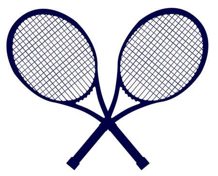 Un par de raquetas de tenis cruzadas en silueta aislados sobre un fondo blanco