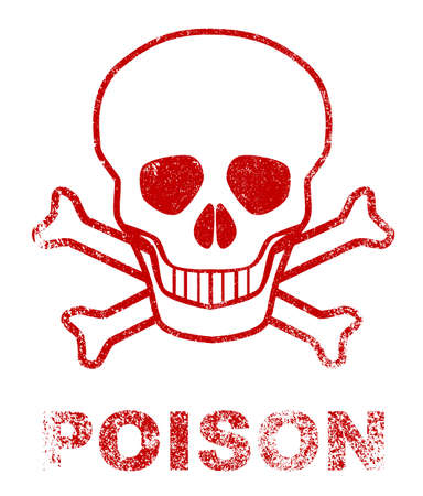poison sign: Skull and crossbones poison sign as a red ink stamp