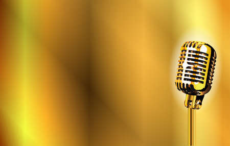 A gold stage microphone set on a golden background