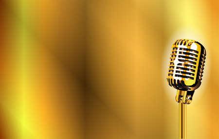 Un micrófono etapa de oro sobre un fondo de oro