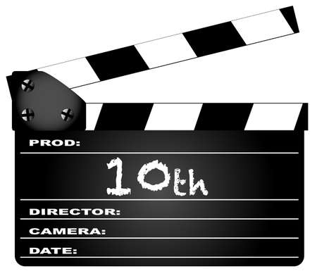 home video camera: A typical movie clapperboard with the legend 10th isolated on white. Illustration