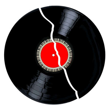 A broken LP vinyl record with red label and a circle of piano keys all over a white background.