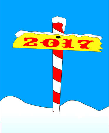 north pole: A sign at the north pole with the message 2017.
