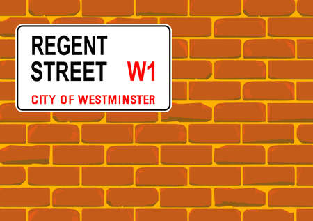 cemented: The street name sign from Regent Street West One on a red brick wall Illustration