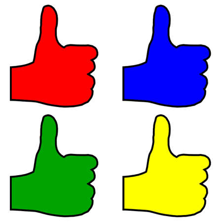 all right: A green red blue and yellow hands giving the thumbs up sign all over a white background Illustration